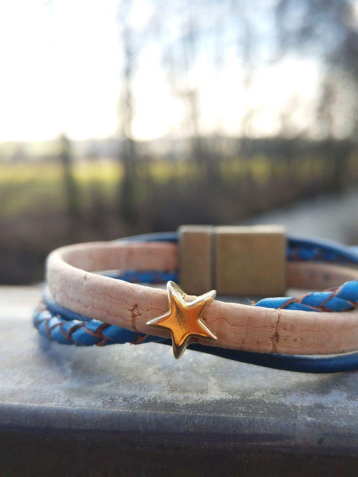 Schmales Armband mit Kork und Leder