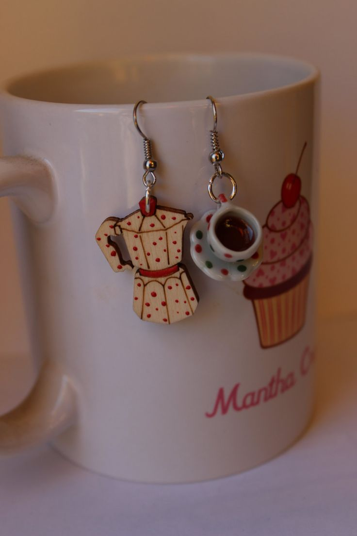 Sweet wood coffee pot and cup polka dot wearable food - earrings - handmade - polymer clay and ceramics by ManthaCreaMiniatures on Etsy