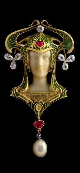 Art Noveau Pendant  --  Ivory, enamel, gold, diamonds, rubies & pearl  --  Workmaster: Léon Gariod.