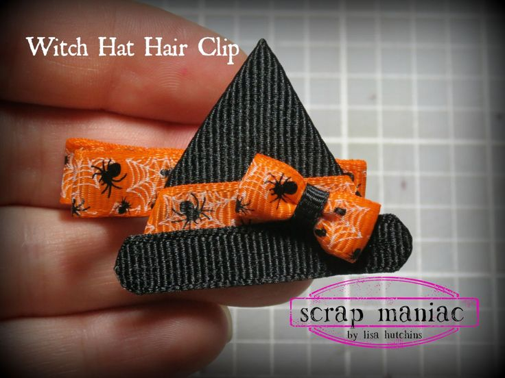 Witch's Hat Flat Halloween Ribbon Sculpture Hair Clip Bow with Grosgrain Ribbon on Partially Lined Alligator Clip for Baby, Girls and Ladies by ScrapManiacShop on Etsy