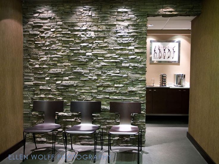 Beautiful Faux Stone Wall Medical Office Interior Modern Office Space Office Interiors