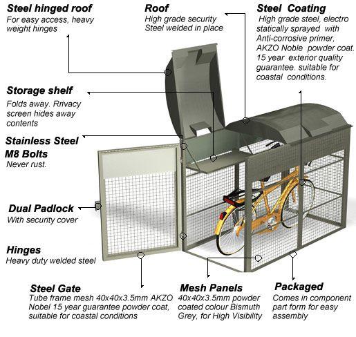 Standard Individual Security Locker Single Bike Shelter