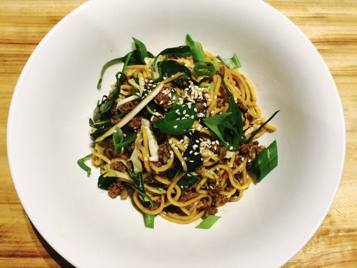 Asian Style Beef with Basil, Spinach and Noodles