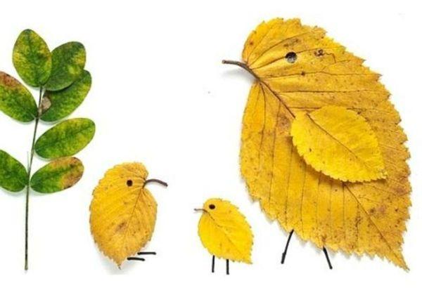 Bastelidee Kinder Herbst Naturmaterialien Hühnchen