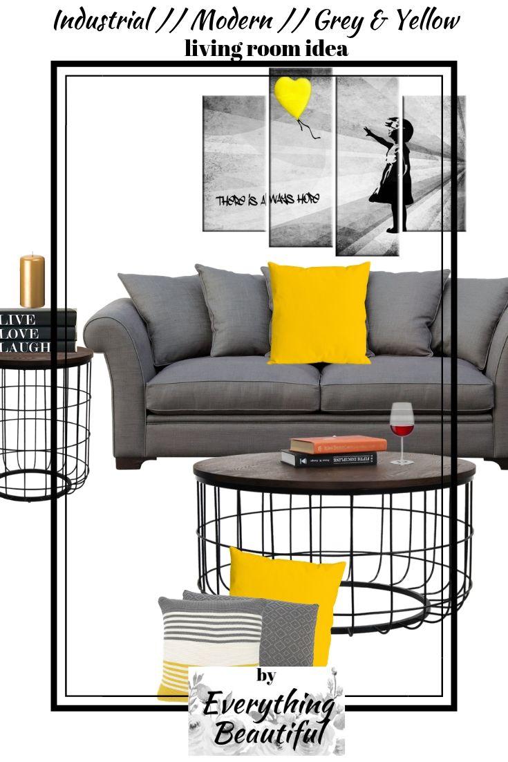 Industrial Modern Grey Yellow Living Room Decor Grey And Yellow Living Room Yellow Living Room Yellow Decor Living Room