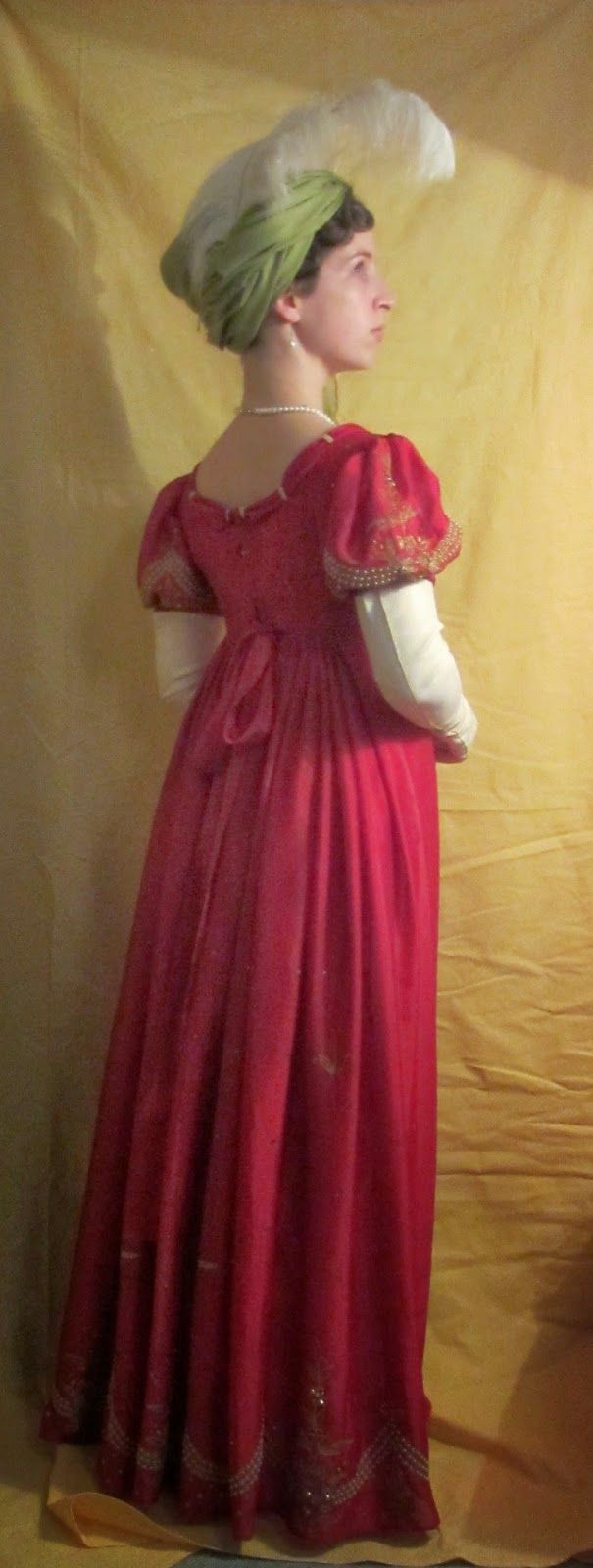 Red Regency ball gown made from a sari (also good general costume blog)