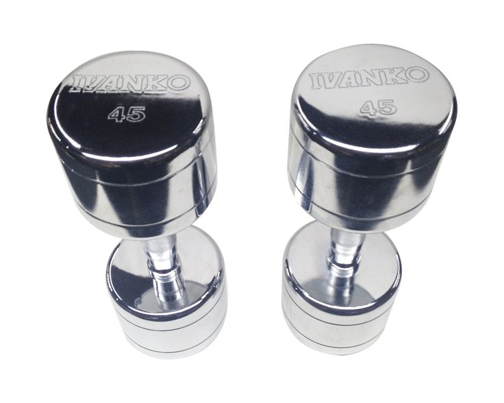 "IVANKO Contoured Handle Chrome Dumbbells, 45 lbs (PAIR). Original IVANKO design, now widely imitated. Contoured handle design. a.k.a. ""Beauty Bells."". Available in LIMITED sizes in lbs. and kgs. PRICE IS PER PAIR."