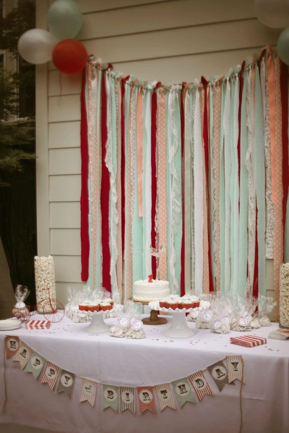 Streamer Backdrop Cake Photo Backdrop Ribbon Garland Vintage Carnival Mint Gold Peach Lace Red Baby Shower First 1st Birthday Wedding Decor