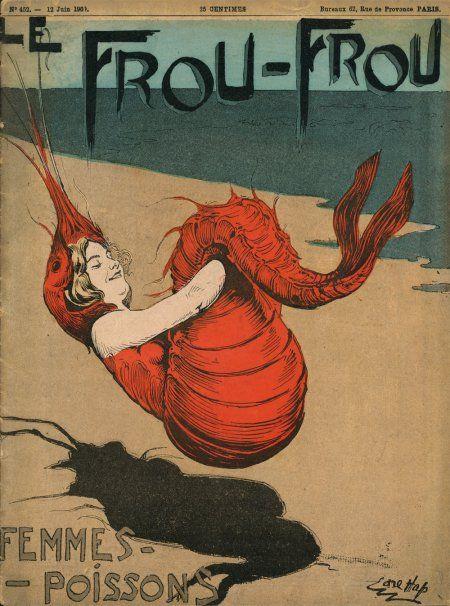 Brilliant lobster -girl illustration. Le Frou-Frou Magazine (France, 1900?)