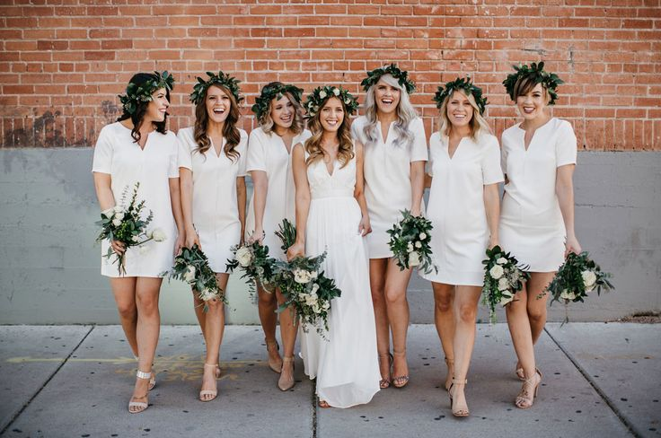flower crown bridesmaids in Forever 21 dresses - brides gown by Truvelle