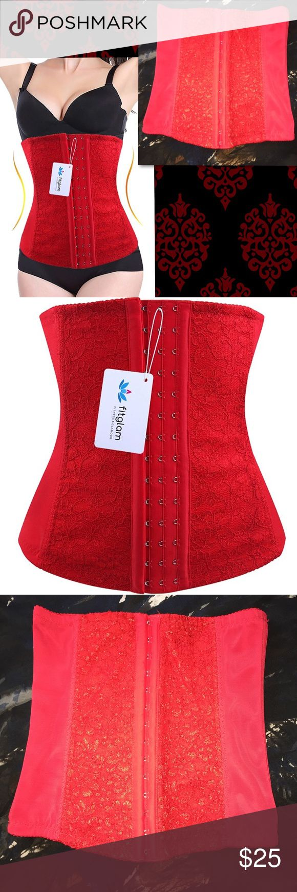 Waist Trainer Corset S in Red Lace Corset in red lace, great for costume parties and as an accent piece over a sleek black sheath dress. Purchased for Halloween dress up, but didn't use at all after removing tags and washing. Designed for waist training to develop a svelte figure. Size: Small. Intimates & Sleepwear Shapewear
