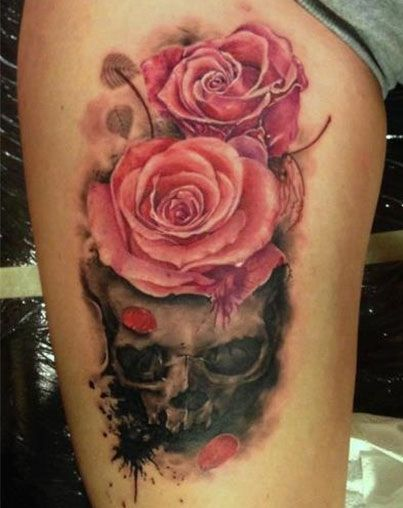 25 best skulls and roses tattoos images on pinterest skulls skull rose tattoos and tattoo ideas. Black Bedroom Furniture Sets. Home Design Ideas