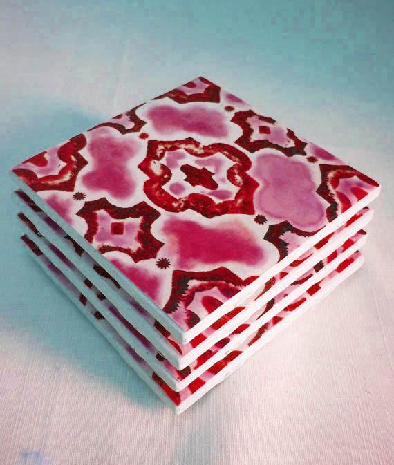 Tile Coasters Ceramic Drink Magenta By Urbancreative 20 00