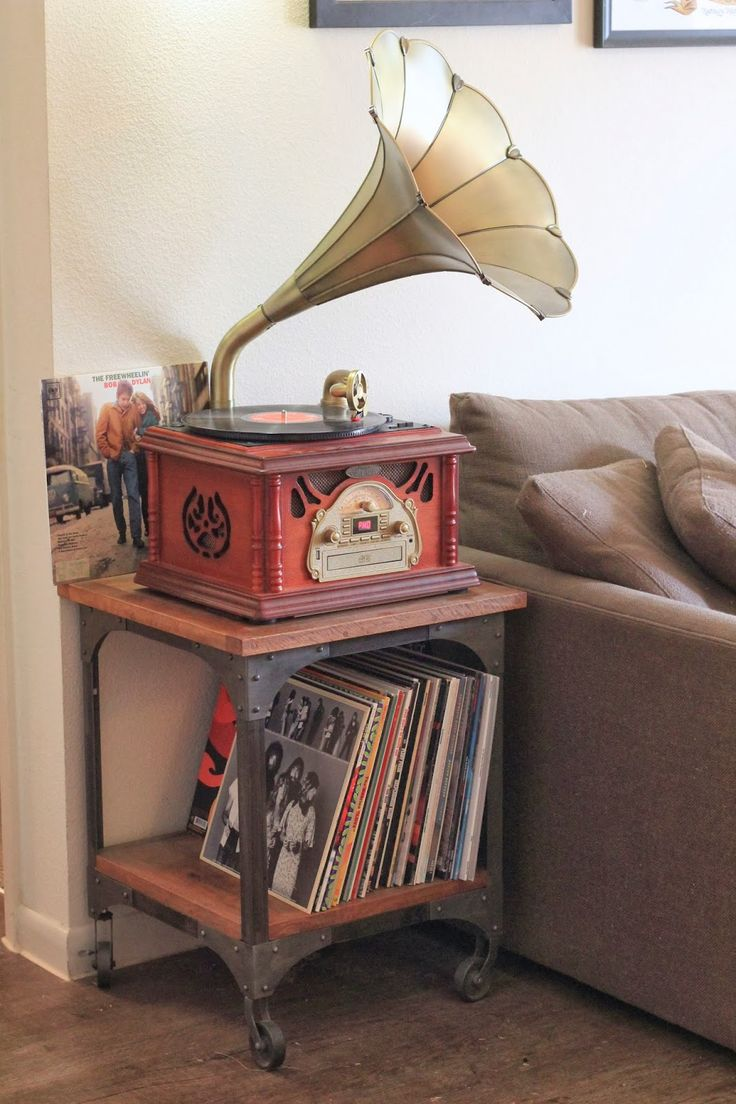 so in love with our gramophone record player + world market aiden end table