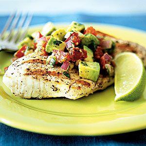 Grilled Mahi Mahi With Avocado-Chile Salsa | MyRecipes.com #myplate #protein #vegetable