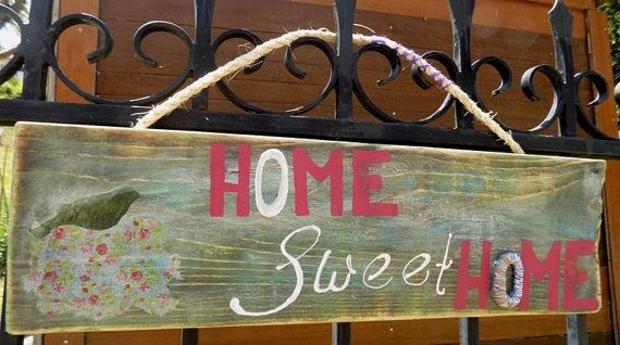 Wood sign Green home decor home wood sign welcome sign boho by WOOD4UCrafts