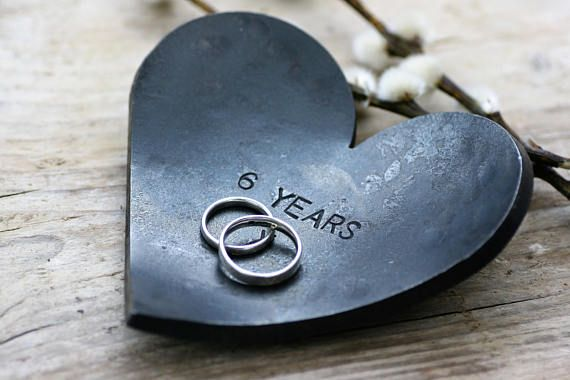 The beautiful hand forged Iron Heart dishes are the perfect 6th anniversary gift. Each one is individually hand forged by Blacksmith Chris here at Coach House Forge. The perfect size for wedding rings, jewellery, cufflinks and watches these dishes can be personalized with the message