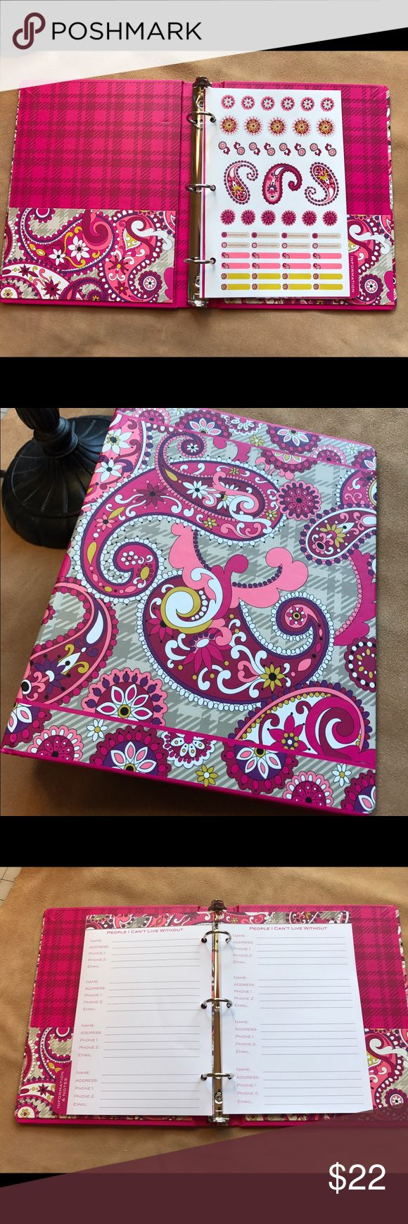 VERA BRADLEY Agenda Planner 3-Ring Binder Notebook VERA BRADLEY Agenda Planner 3-Ring Binder Notebook Refillable RARE retired Pink Paisley  This planner is from previous years but also has no actual month pages, and of course, you could add those 2017 pages from another source. Comes with the full sticker page and Some pages for addresses and notes. Refillable 7x9 3 ring binder Vera Bradley Other