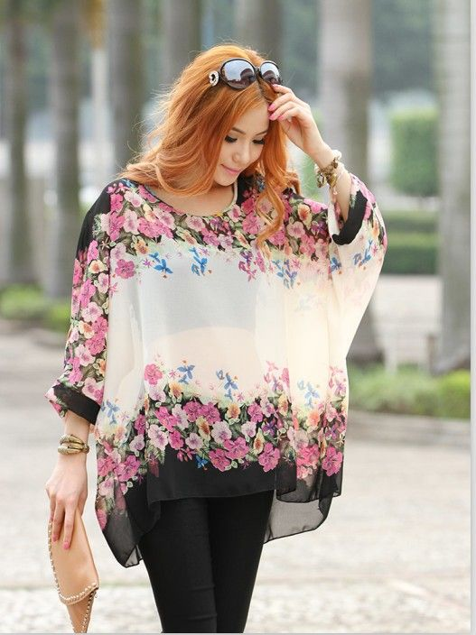 New 2014 Spring and Summer Women's Fashion Plus Size Loose Floral Printing Batwing-sleeve Sheer Chiffon Shirts & Blouses $14.00