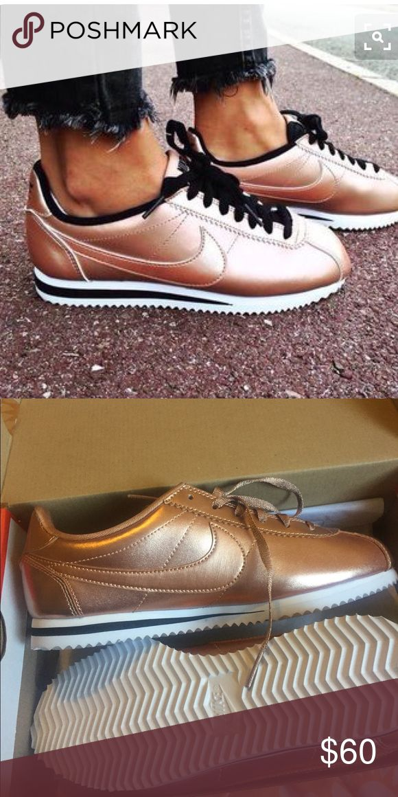 Rose gold Cortez Brand new size 6 in youth but fit a 71/2 in woman Nike Shoes Athletic Shoes