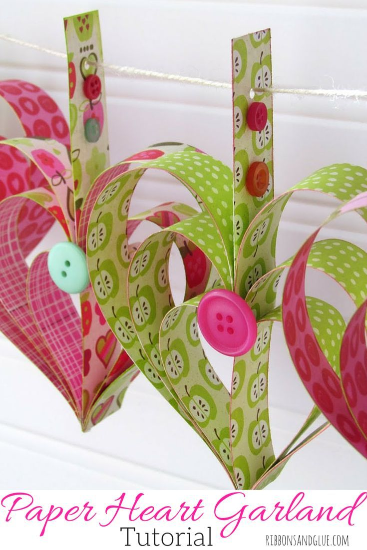 Heart Garland made out of paper strips.  Such a pretty Valentine's Banner idea.