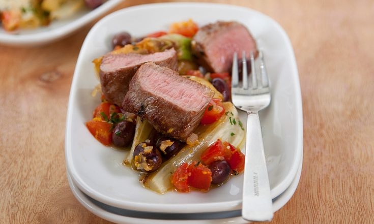 Grilled Loin of Lamb with Olives and Fennel