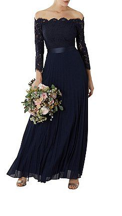4820f6cb0671 Coast - Navy lace 'Imi' bardot long sleeve maxi bridesmaid dress ...