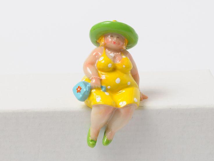 Dikke dame Mina geel klein - Assortiment - Iedersstijl Webshop, met onder andere dikke dames en andere leuke kado's!