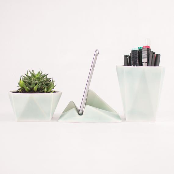Modern Desk Accessories Set Ceramic Desk Organizer Minimal Office Accessories Desk Decoration Kit Ceramic Office Organization Modern Desk Accessories Modern Office Supplies Modern Desk