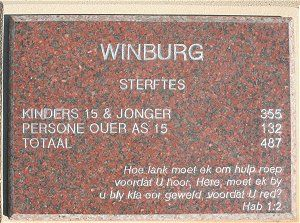 A memorial slab dedicated to the women and children who died in the Winburg Concentration Camp - Women's Memorial, Bloemfontein.Children who were under six years of age received 0,5 lb of meal daily, 1/2 meat twice weekly, 1/4 tin of milk daily, 1 oz sugar daily and 1/2 oz of salt daily. This very poor diet led to the rapid spread of diseases such as whooping cough, measles, typhoid fever, diphtheria, diarrhoea and dysentery, especially amongst the children.