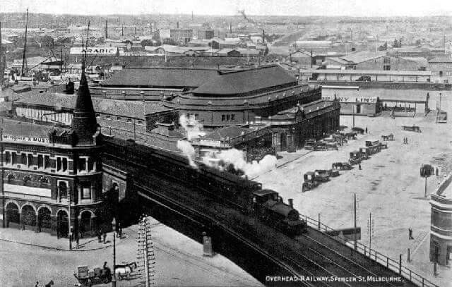 Overpass at Flinders St/Spencer St from above in 1900s.