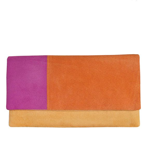 CLUTCH  colorful small yellow pink orange for by bandabag on Etsy