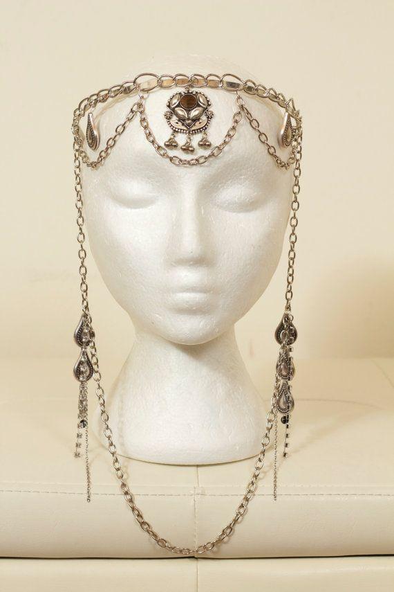 Goddess Silver Chain Headdress,  $115.00 USD Etsy:  LotusCircle   Goddess+Silver+Chain+Headdress+by+lotuscircle+on+Etsy