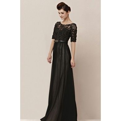 Modest Black Sleeves Prom Formal Evening Dress cx830155