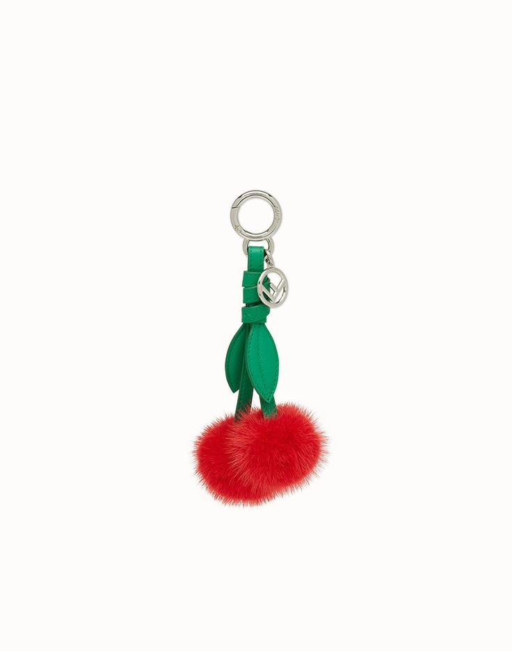 FENDI CHERRY CHARM - Charm in red mink fur - view 1 detail