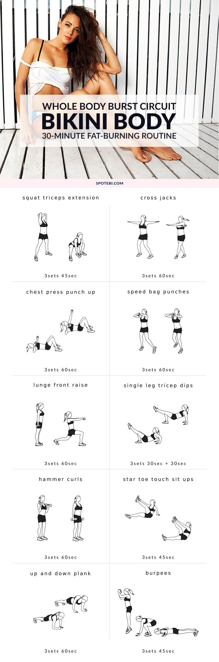 Are you ready for a bikini body?! Try this 30-minute burst workout to increase fat oxidation, keep your hormones in balance and improve your overall performance. Get impressive fat-burning benefits and start getting your body ready for swimsuit season! https://www.spotebi.com/workout-routines/bikini-body-burst-workout/