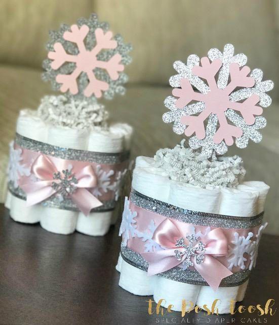 Snowflake Diaper Cake, Baby Shower Gift Centerpiec…