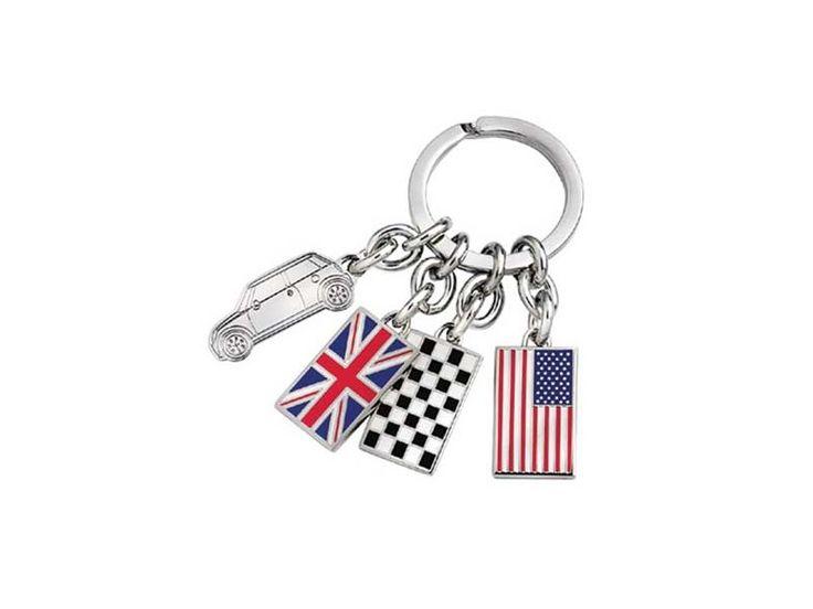 Mini Cooper Gift - Mini & Flags Keychain