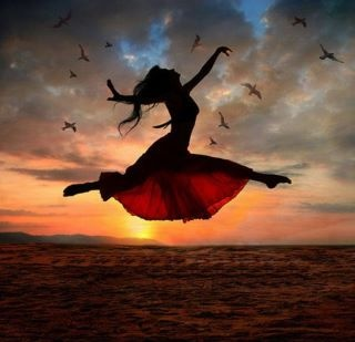 "Dance with sunset. - ""original quote"": leap of faith"