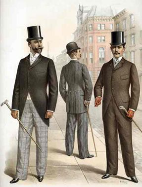 Look familiar? The late 19th century cultivated a trend for men that would last until well... today. The slightly baggier pants with a solid colored coat became all the rage of this time, and while we don't have their top hats and canes, the template of that look remains in today's business world. Oh yeah, and did I mention? Cravats are gone!