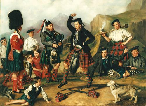 The Sword Dance by David Cunliffe 1853.   93rd Regt (Sutherland Highlanders) wearing a range of tartans. The dancer, Bandsman MacKenzie, is wearing the 42nd Band tartan.