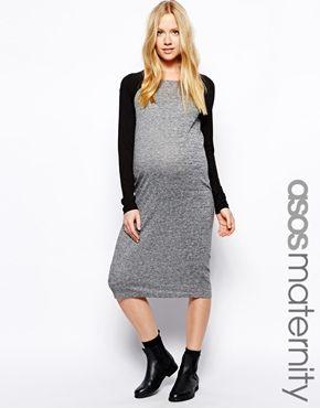 ASOS Maternity Midi Dress With Raglan Sleeve