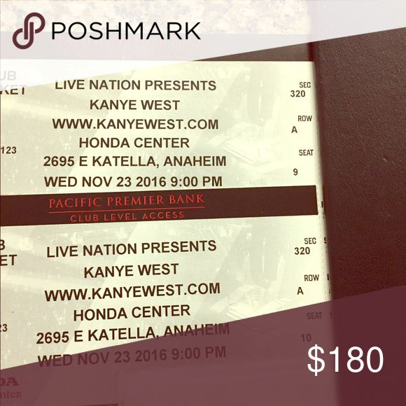Kanye West Tickets at the Honda Center Club seat level section 320 seats 9 & 10 Christian Louboutin Other