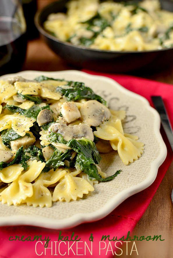 Creamy Kale & Mushroom Chicken Pasta tastes like grown up mac and cheese. Elegant, yet super easy! | iowagirleats.com