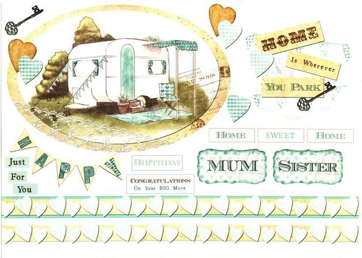 Debbi Moore Designs - Summer Retreat card toppers #6, camping, caravan