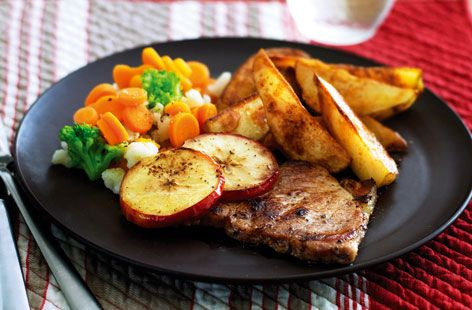 A simple Pork chops with potato wedges recipe for you to cook a great meal for family or friends. Buy the ingredients for our Pork chops with potato wedges recipe from Tesco today.