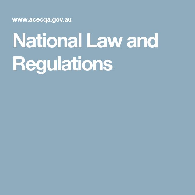 National Law and Regulations