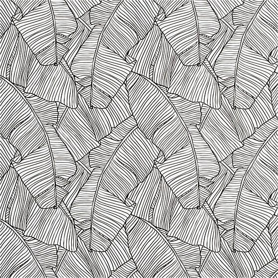 palm black and white self-adhesive wallpaper   CB2