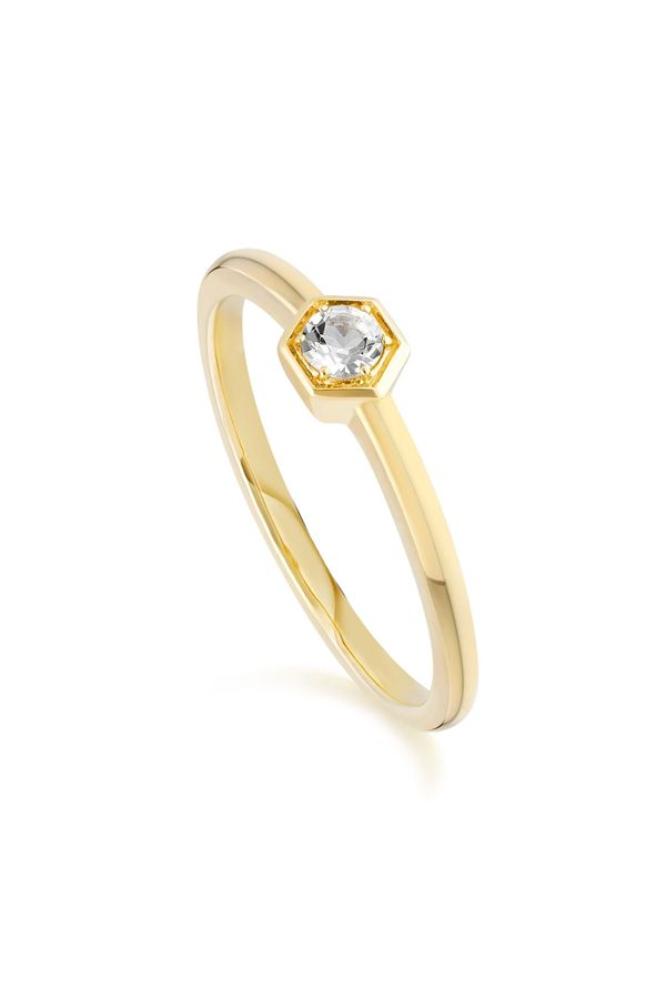 Honeycomb Inspired White Topaz Solitaire Ring In 9ct Yellow Gold