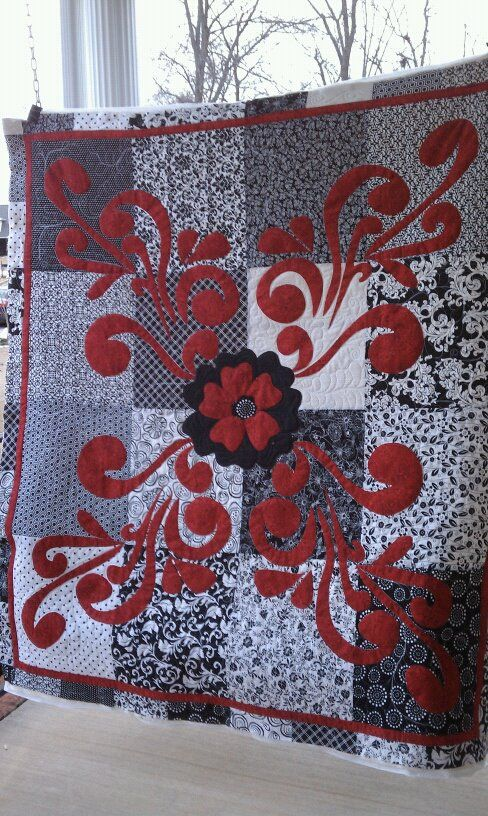 """""""Lady Madonna in Red"""" (posted to Quilting Board by Bamamama)"""